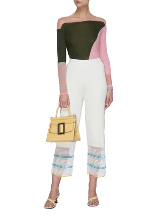 Figure View - Click To Enlarge - I-AM-CHEN - Round neck ribbed colourblock panel top