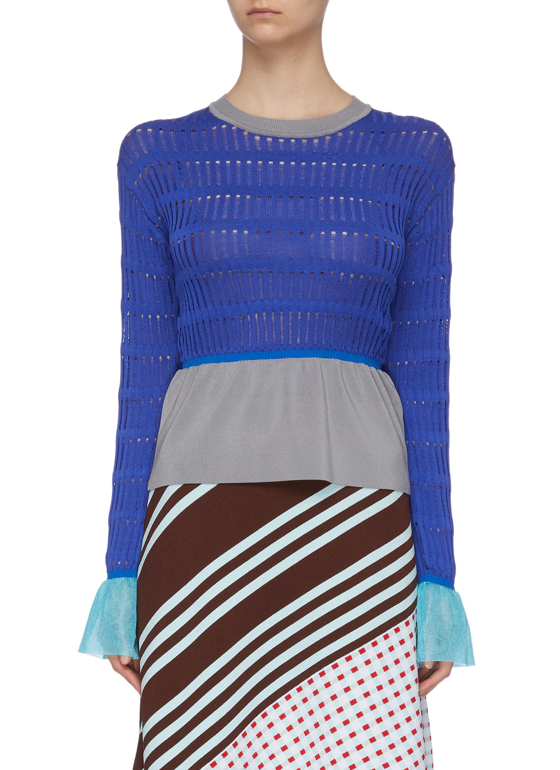 Buy I-Am-Chen Tops Contrast waist cuff panel cut out knit top