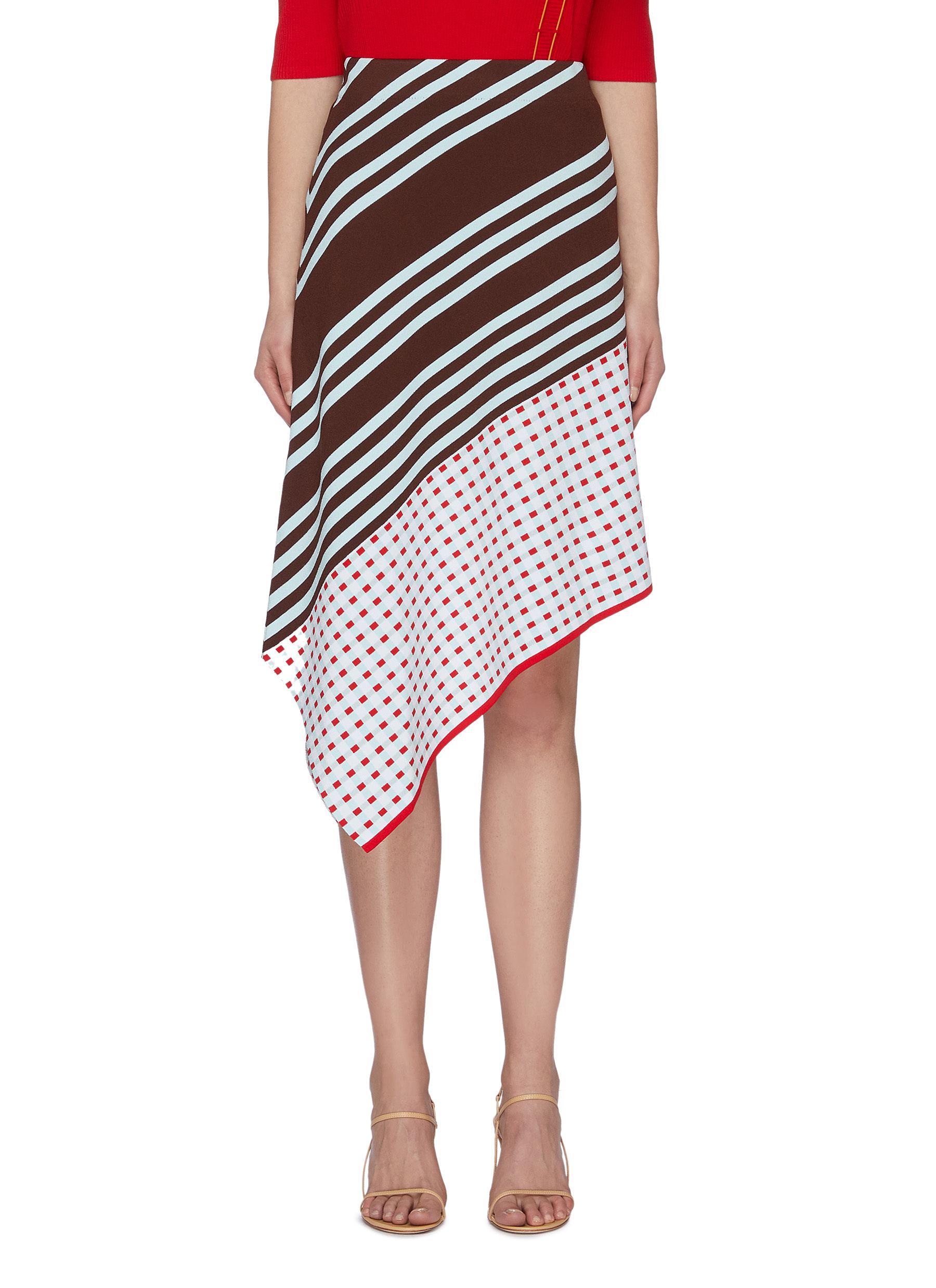 shop I-Am-Chen Asymmetric hem hybrid pattern skirt online