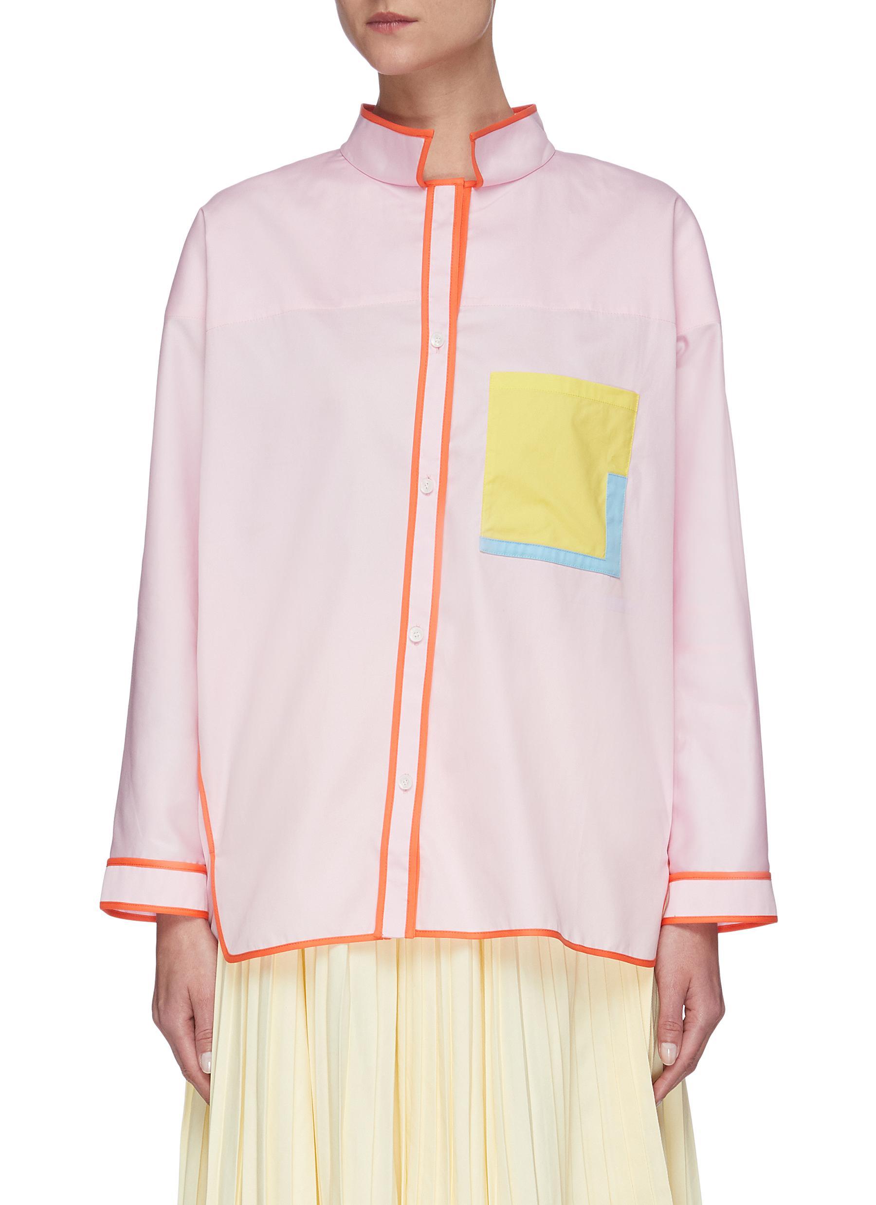 Buy I-Am-Chen Tops Oversize asymmetric contrast pocket stitching shirt