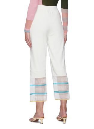 Back View - Click To Enlarge - I-AM-CHEN - Long wide sheer contrast stripe  hem pants