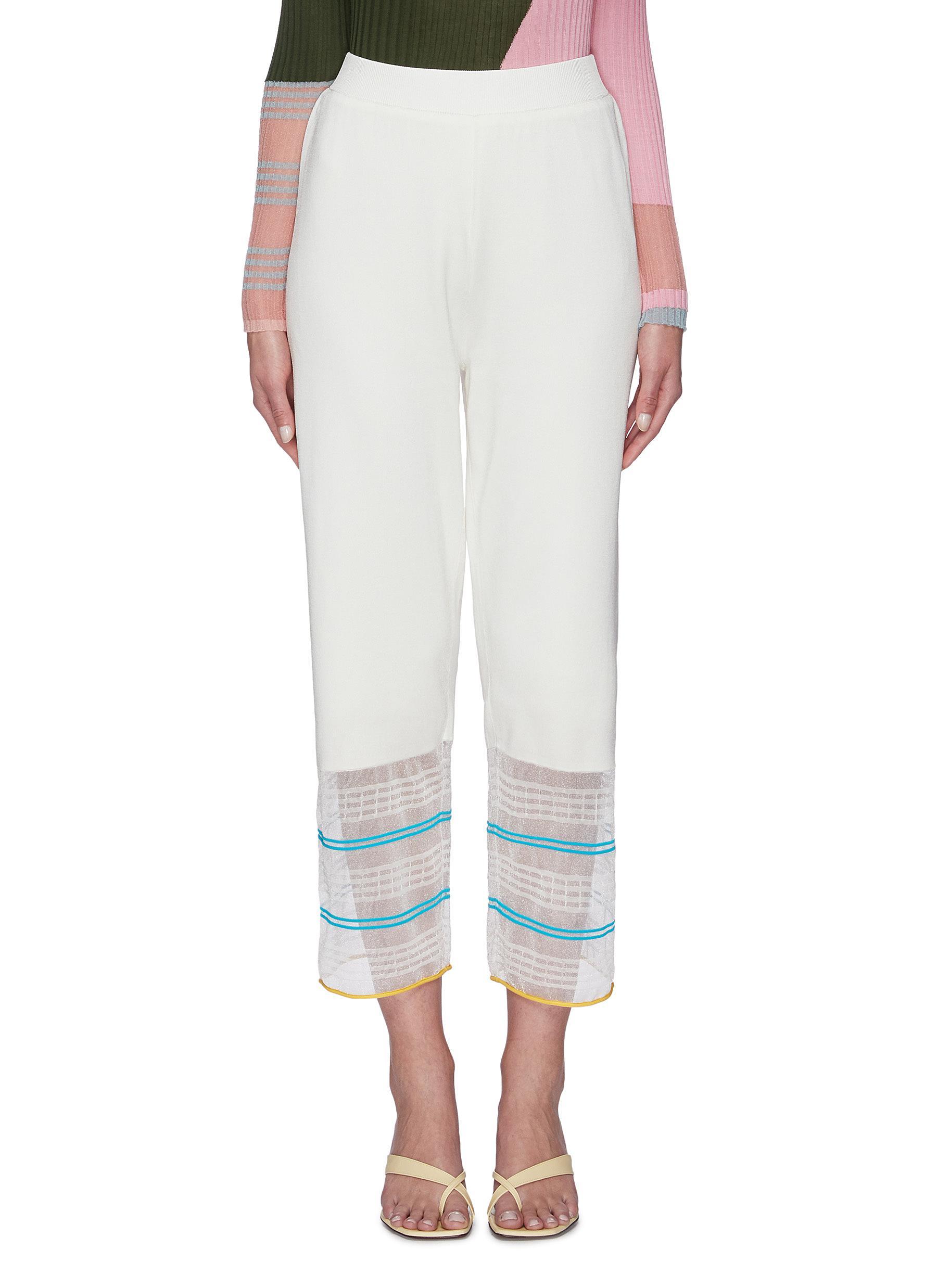 shop I-Am-Chen Long wide sheer contrast stripe hem pants online