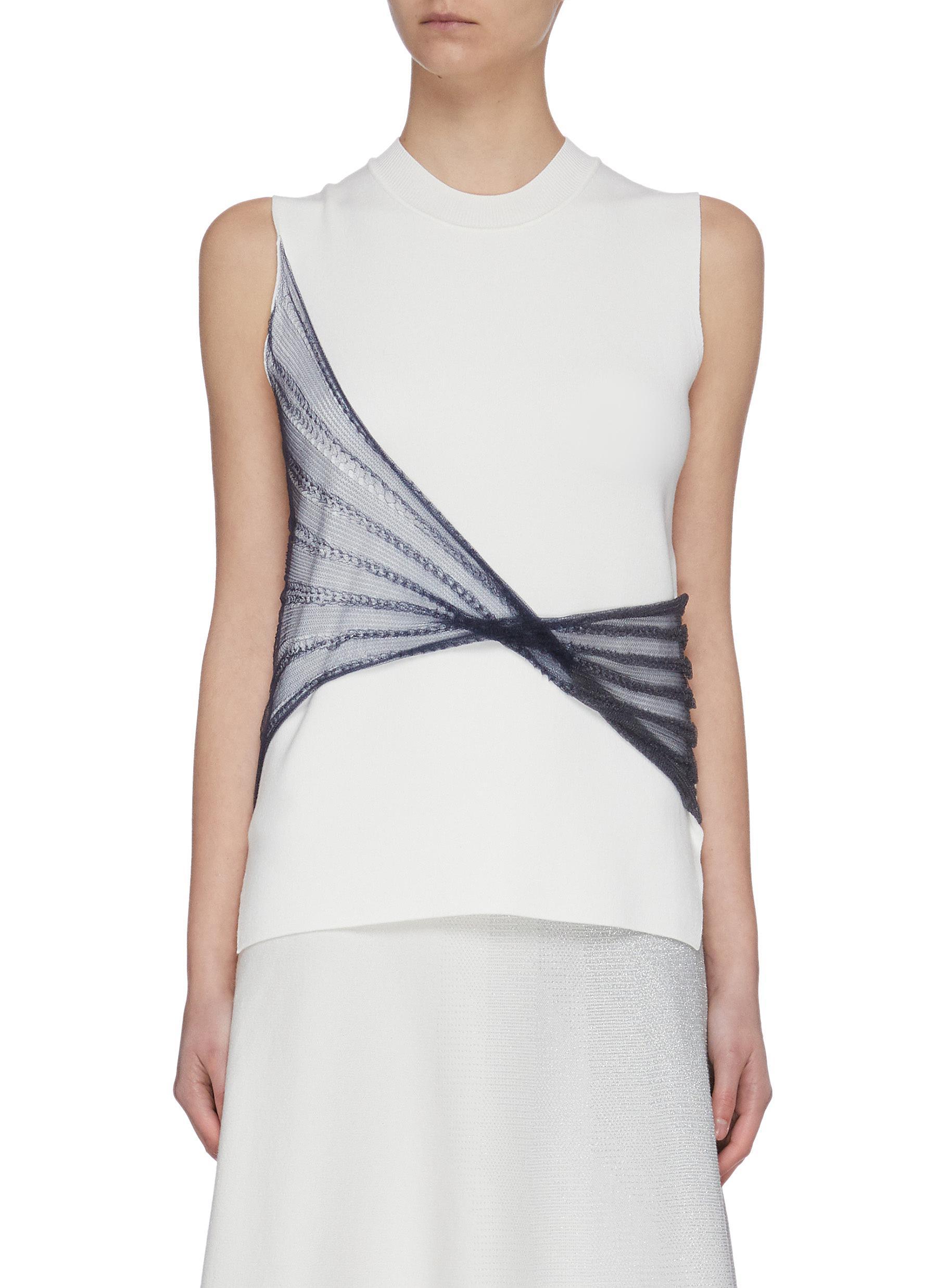 shop Swaying Twist sheer panel sleeveless knit top online