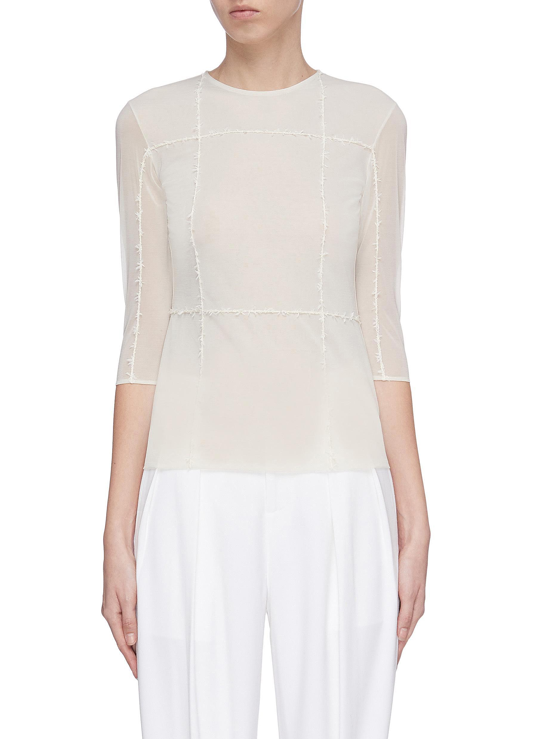 shop Swaying Raw edge topstitch sheer top online