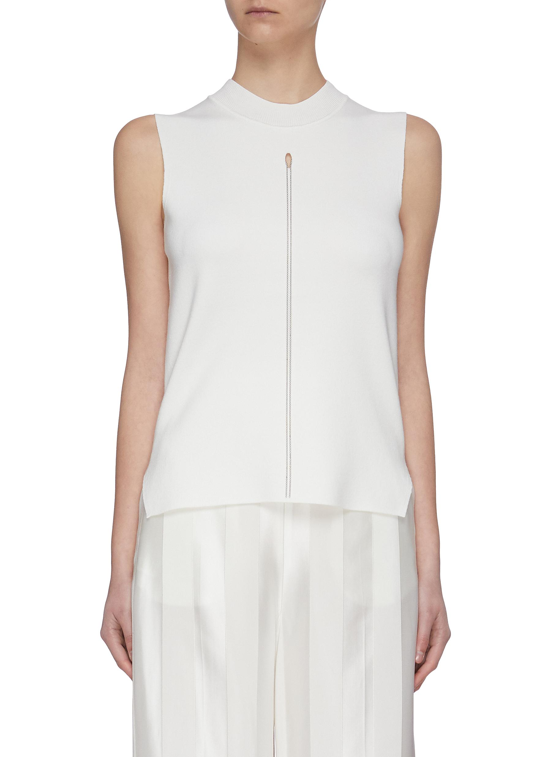 shop Swaying Necklace detail sleeveless knit top online