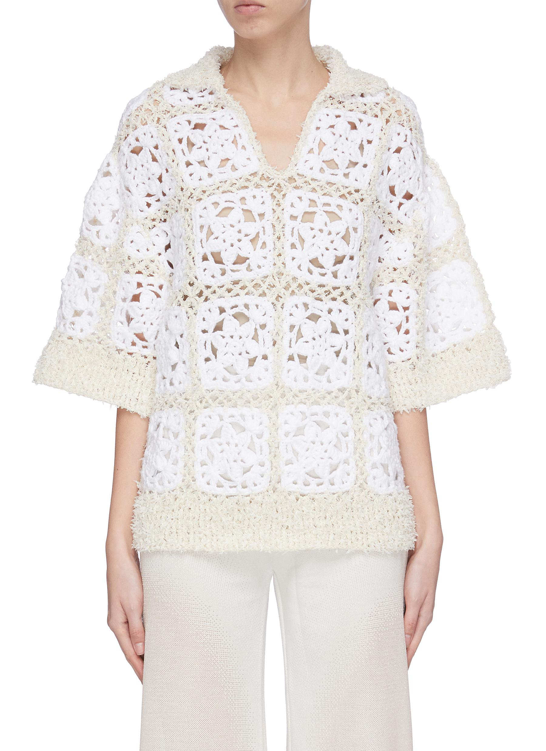 shop Swaying Polo neck crochet knit top online