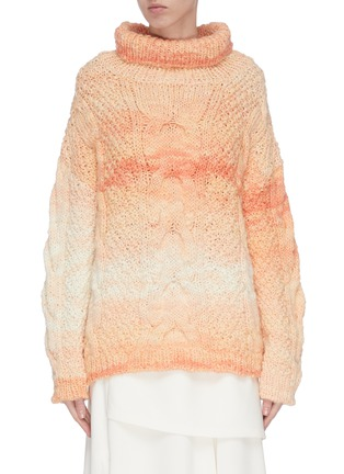 Main View - Click To Enlarge - SWAYING - Roll neck cable knit gradient sweater