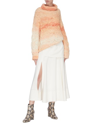 Figure View - Click To Enlarge - SWAYING - Roll neck cable knit gradient sweater