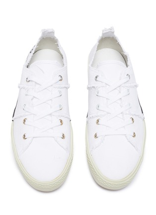 Detail View - Click To Enlarge - MAISON MARGIELA - Flat low top distressed sneakers
