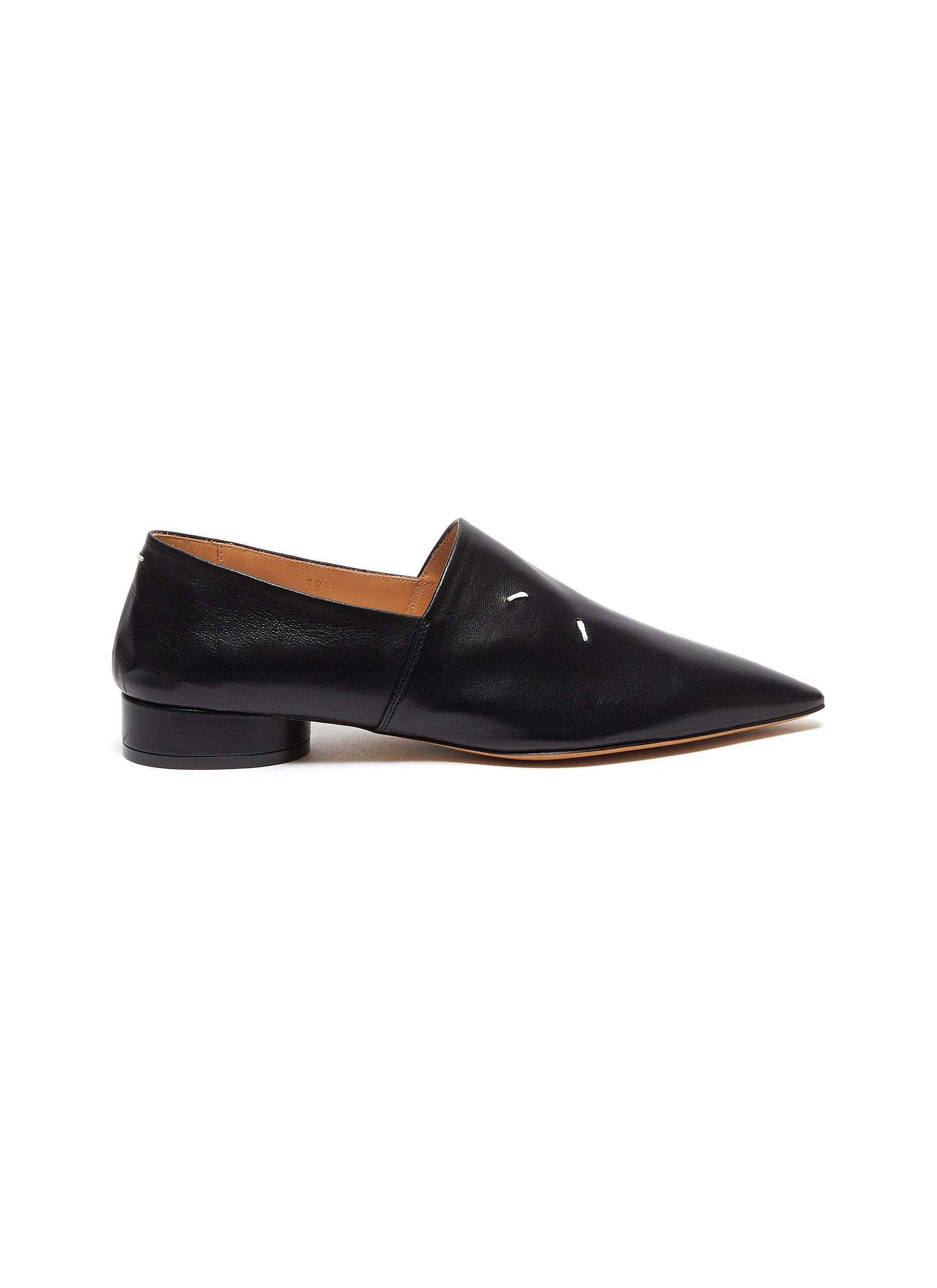 Maison Margiela Flats Step pointed toe contrast stitch leather mules