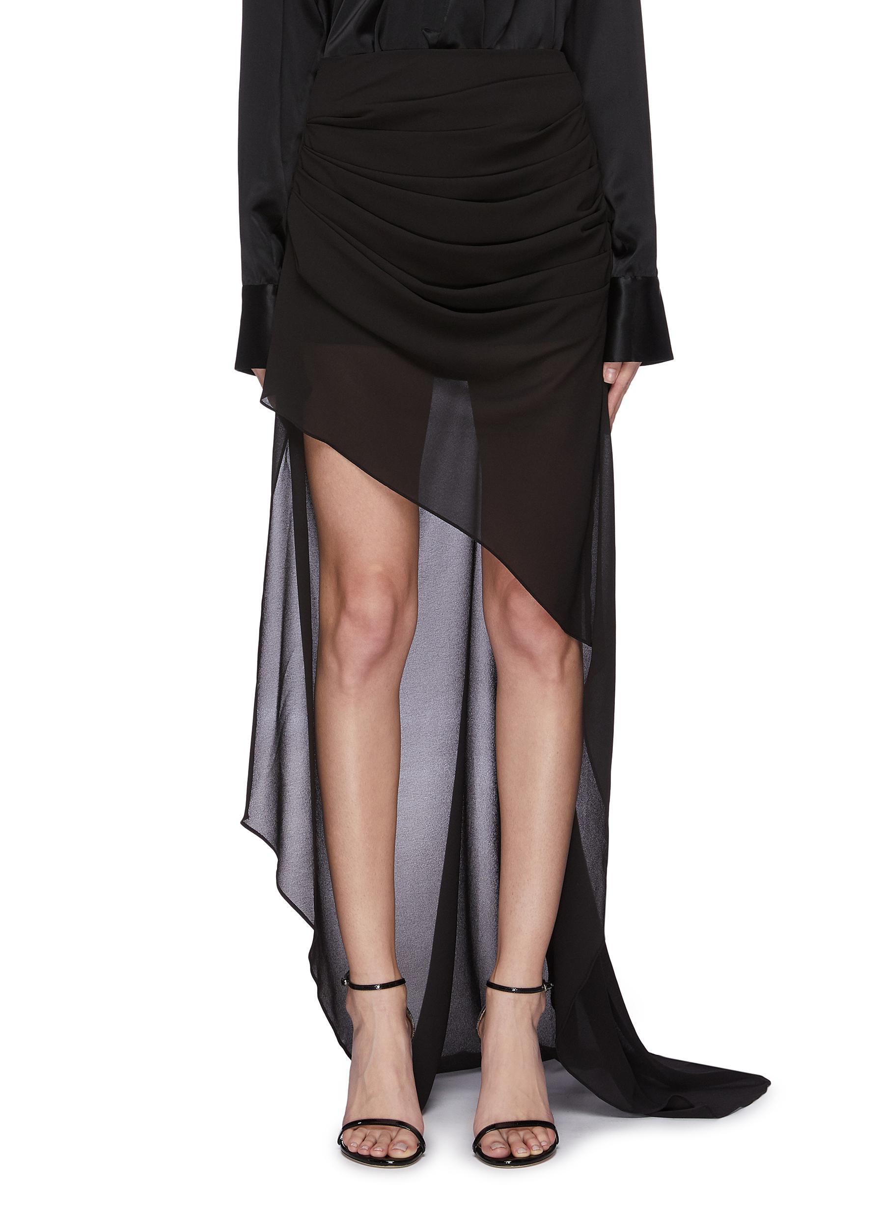 Buy 16Arlington Skirts 'Aster' asymmetric drape sheer maxi skirt