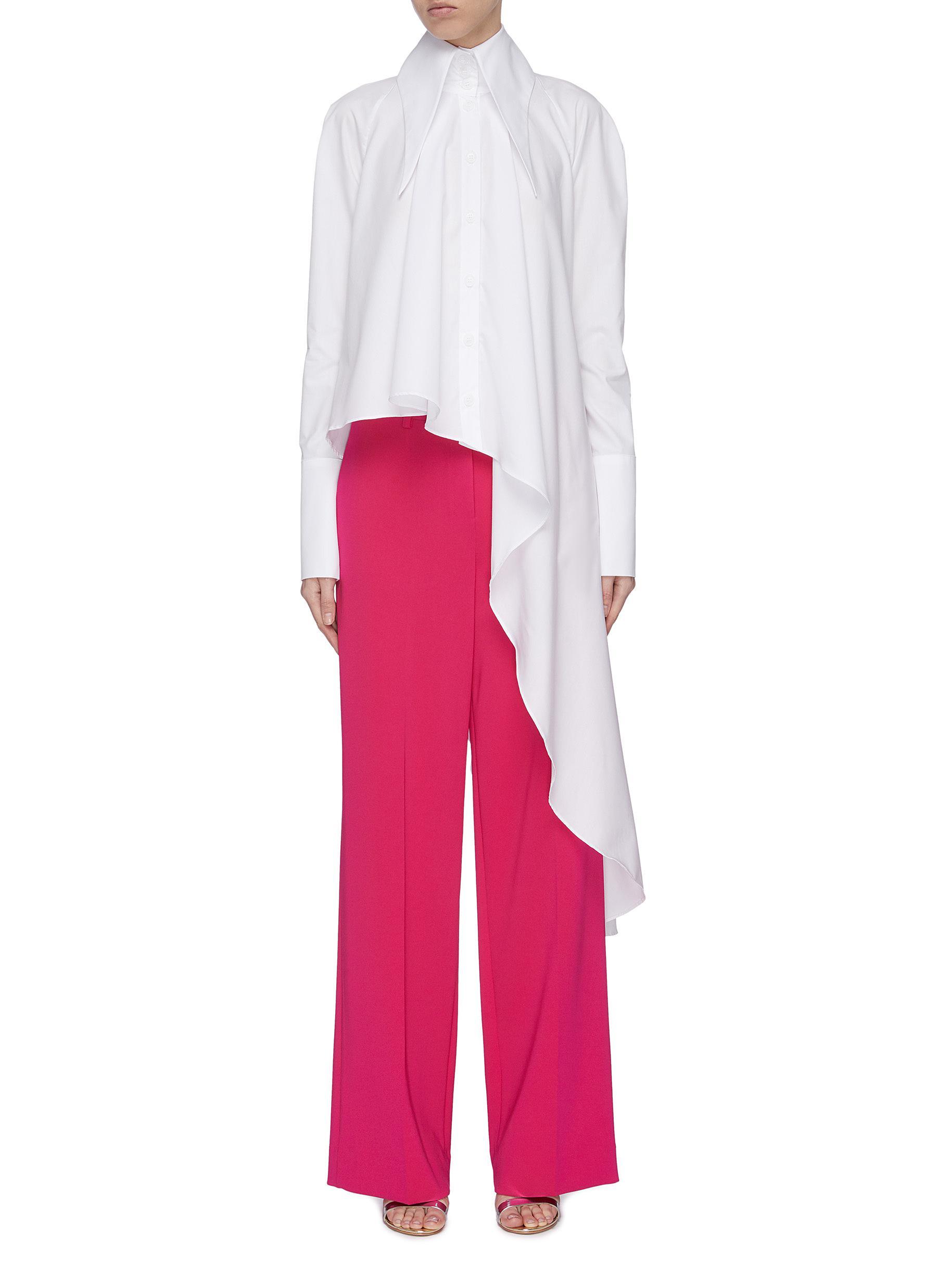 Buy 16Arlington Tops 'Rose' elongated collar asymmetric drape shirt
