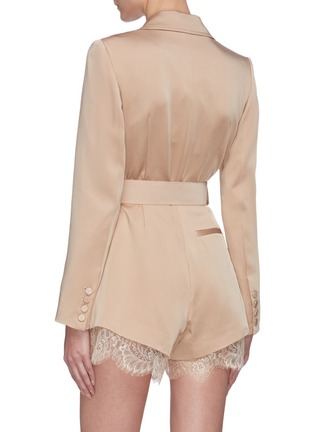Back View - Click To Enlarge - SELF-PORTRAIT - Belted lace trim playsuit