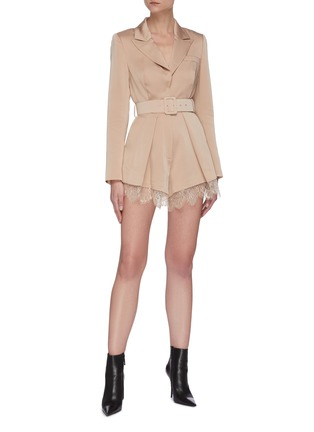 Figure View - Click To Enlarge - SELF-PORTRAIT - Belted lace trim playsuit