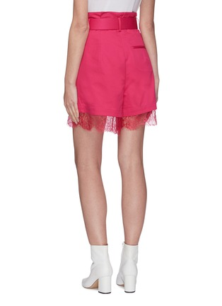 Back View - Click To Enlarge - SELF-PORTRAIT - Fuchsia belted canvas Bermuda shorts