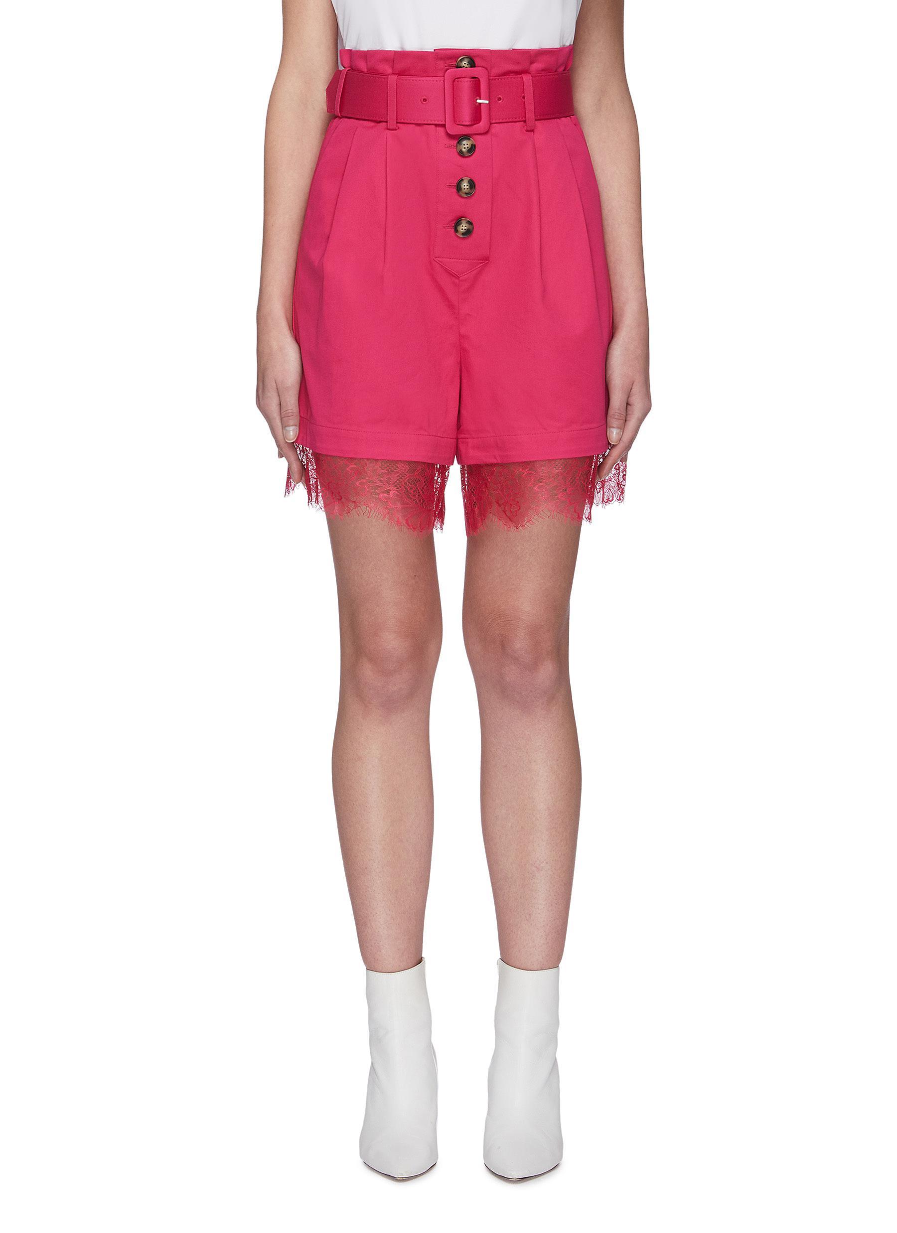 Buy Self-Portrait Pants & Shorts Fuchsia belted canvas Bermuda shorts