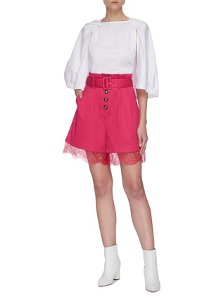 Figure View - Click To Enlarge - SELF-PORTRAIT - Fuchsia belted canvas Bermuda shorts