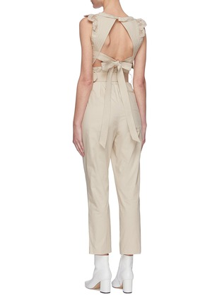 Back View - Click To Enlarge - SELF-PORTRAIT - Broderie sleeveless cotton jumpsuit