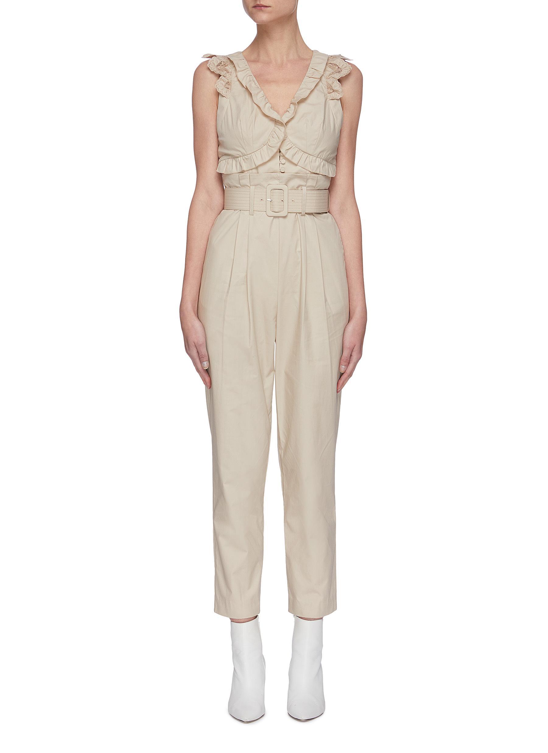 shop Self-Portrait Broderie sleeveless cotton jumpsuit online