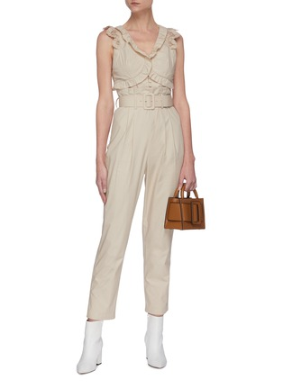 Figure View - Click To Enlarge - SELF-PORTRAIT - Broderie sleeveless cotton jumpsuit