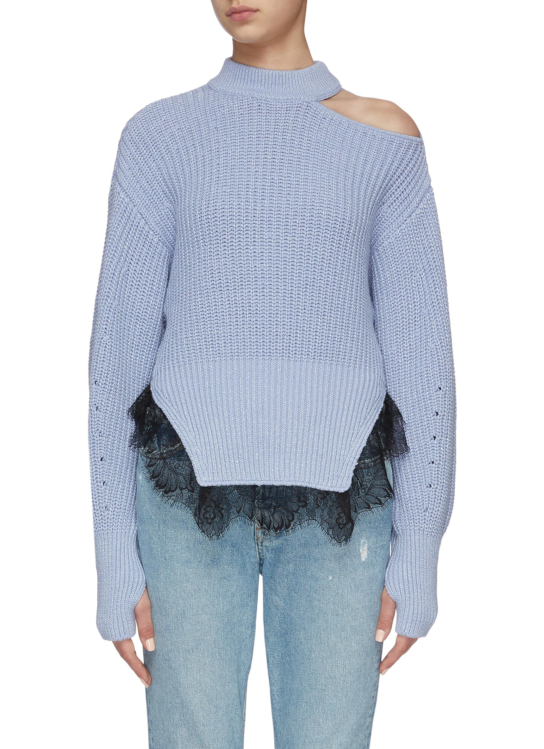 shop Self-Portrait One Shoulder Knit Sweater online