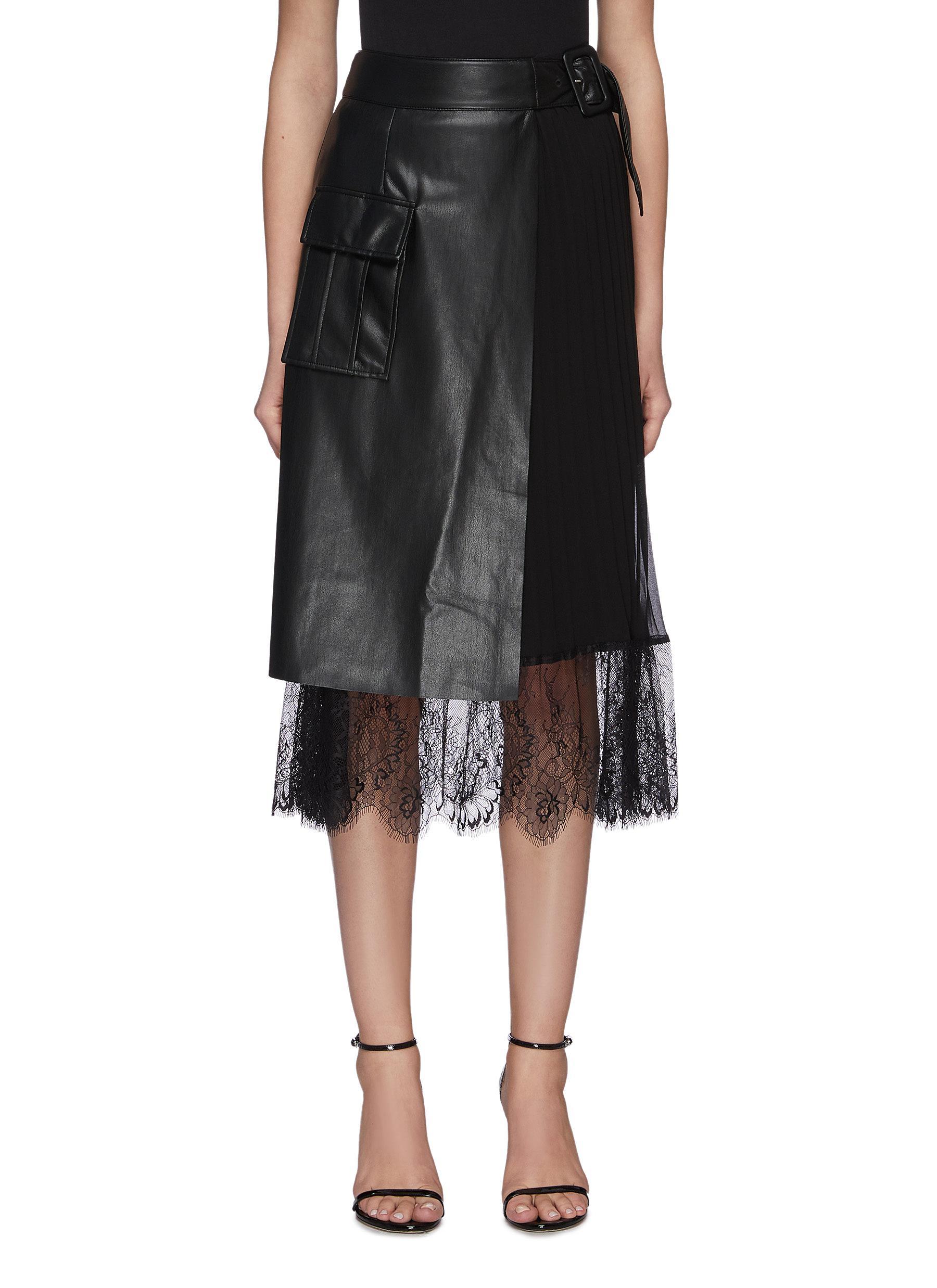 shop Self-Portrait Faux Leather Midi Wrap Skirt online