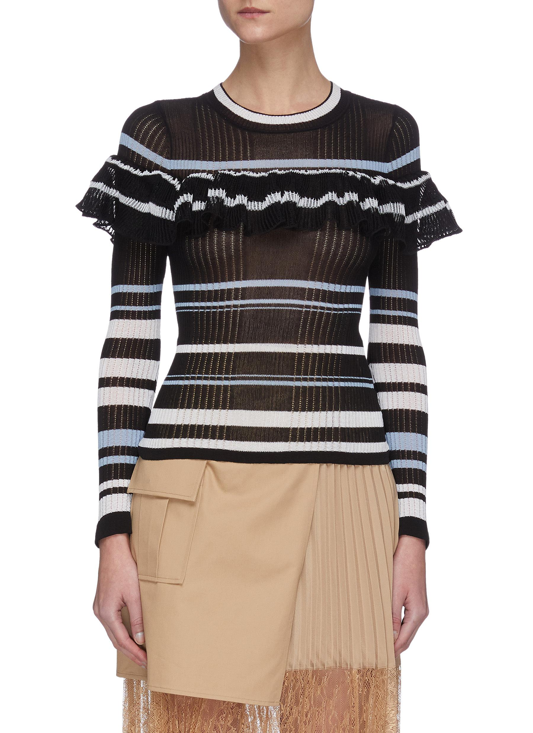 shop Self-Portrait Multi Stripe Frill Knit Top online