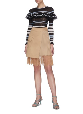 Figure View - Click To Enlarge - SELF-PORTRAIT - Multi Stripe Frill Knit Top