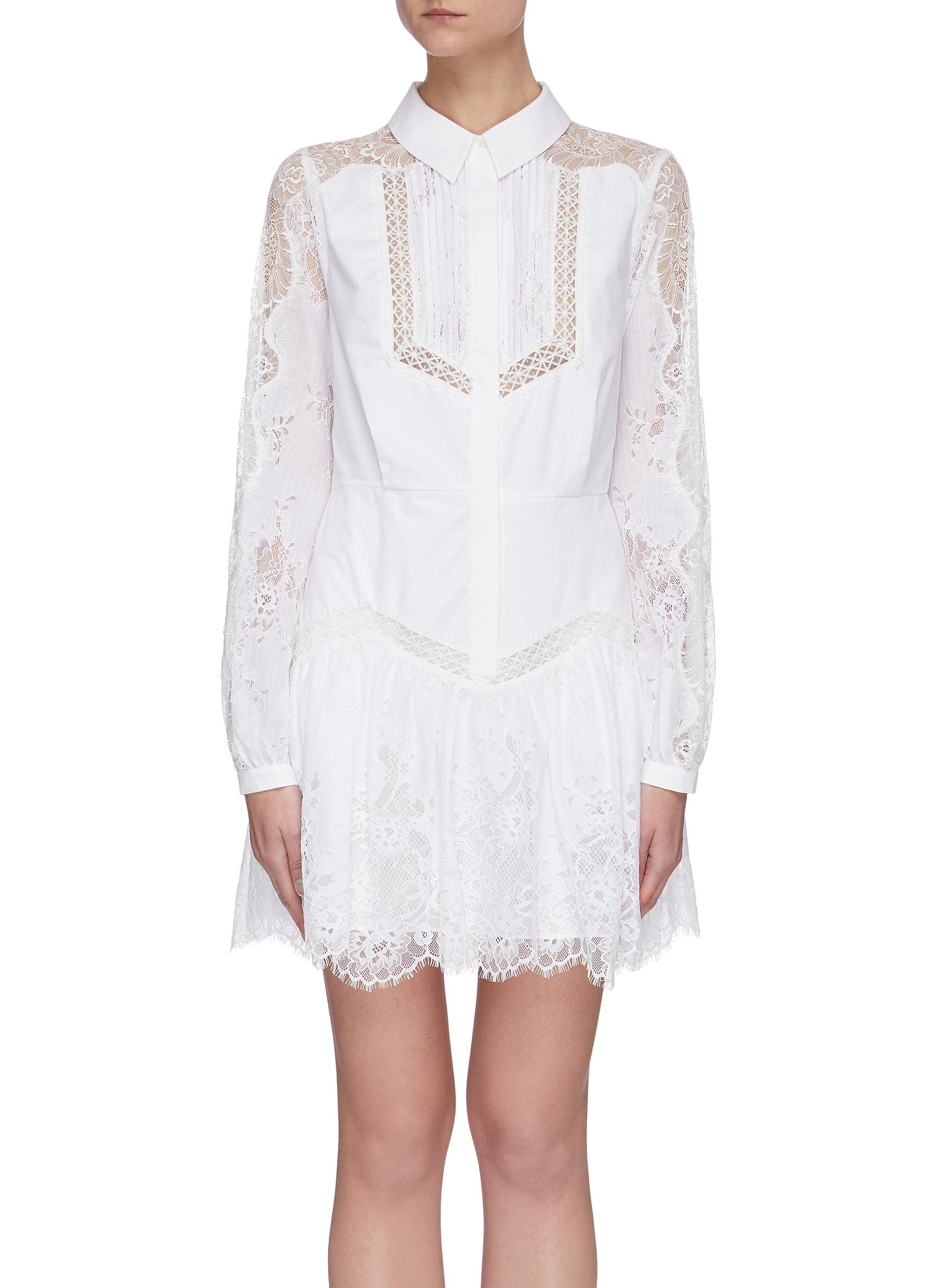 shop Self-Portrait Lace panelled shirt dress online