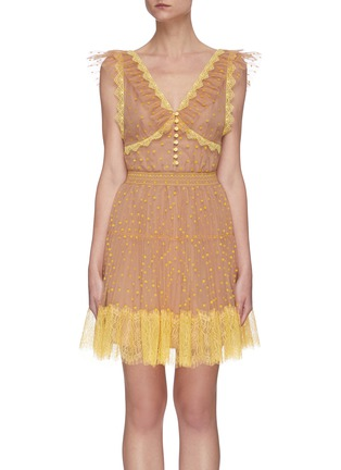 Main View - Click To Enlarge - SELF-PORTRAIT - Polka dot lace tea dress