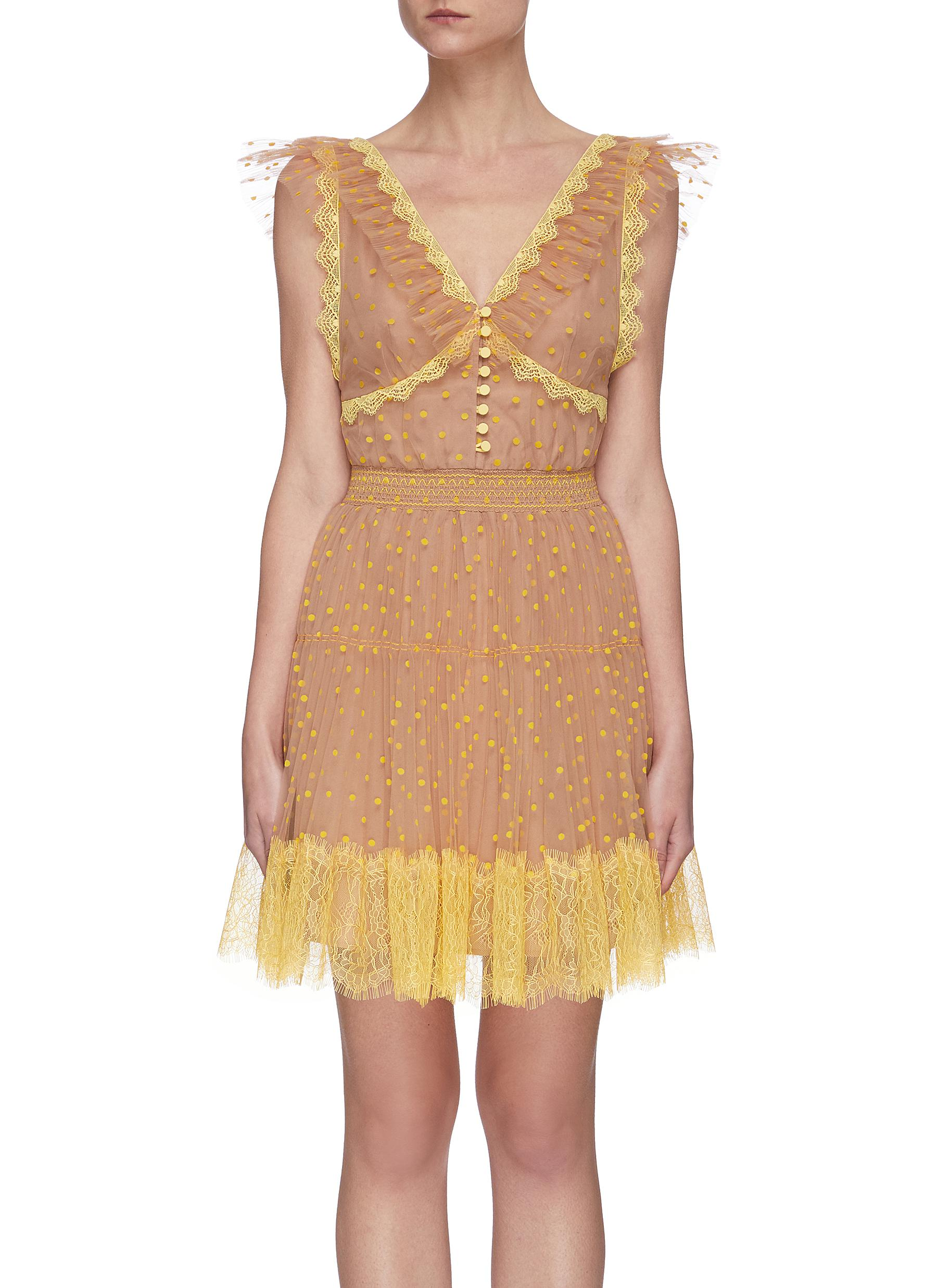 shop Self-Portrait Polka dot lace tea dress online