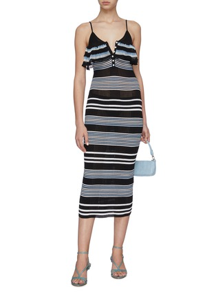 Figure View - Click To Enlarge - SELF-PORTRAIT - Multi Stripe Cami Dress