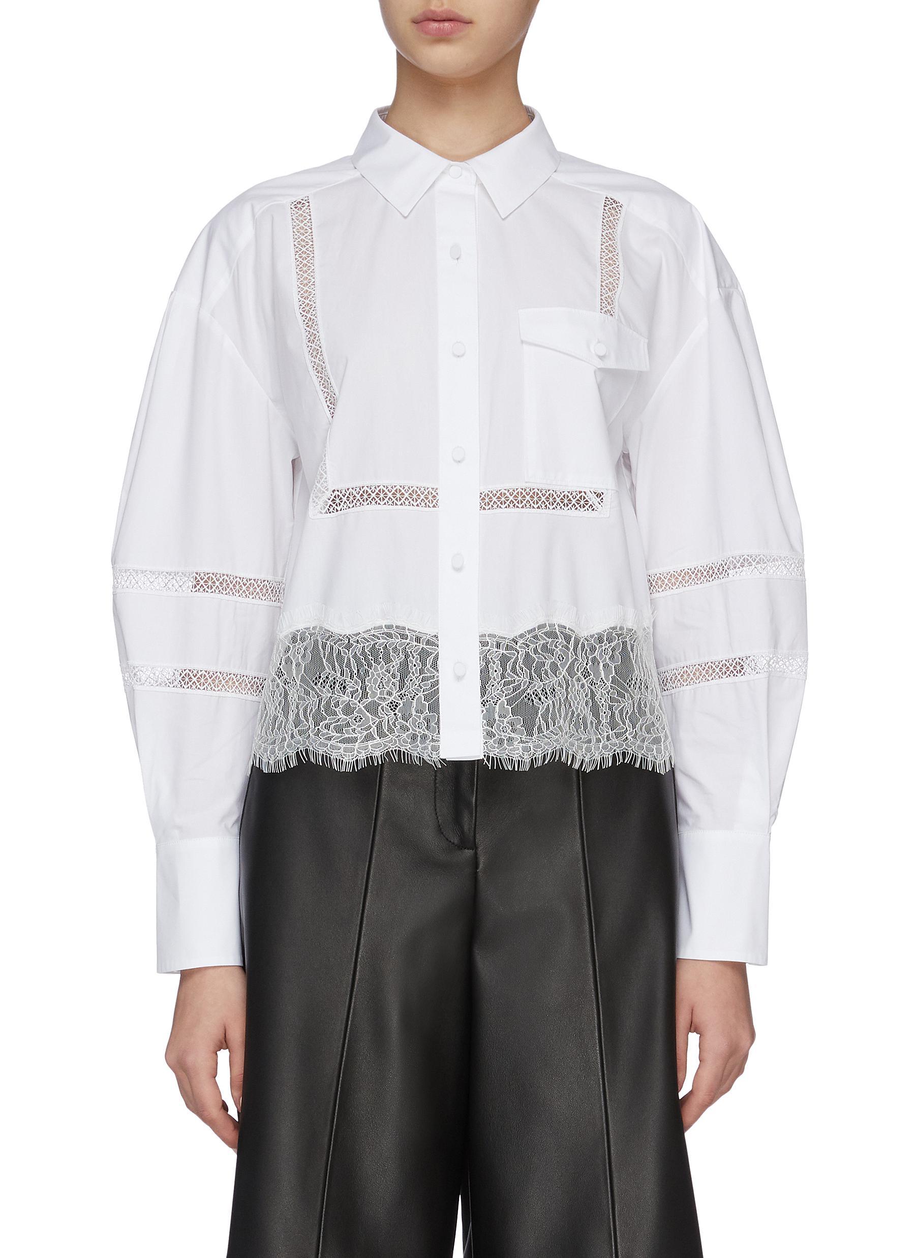 shop Self-Portrait Sheer Stripe Lace Trim Shirt online
