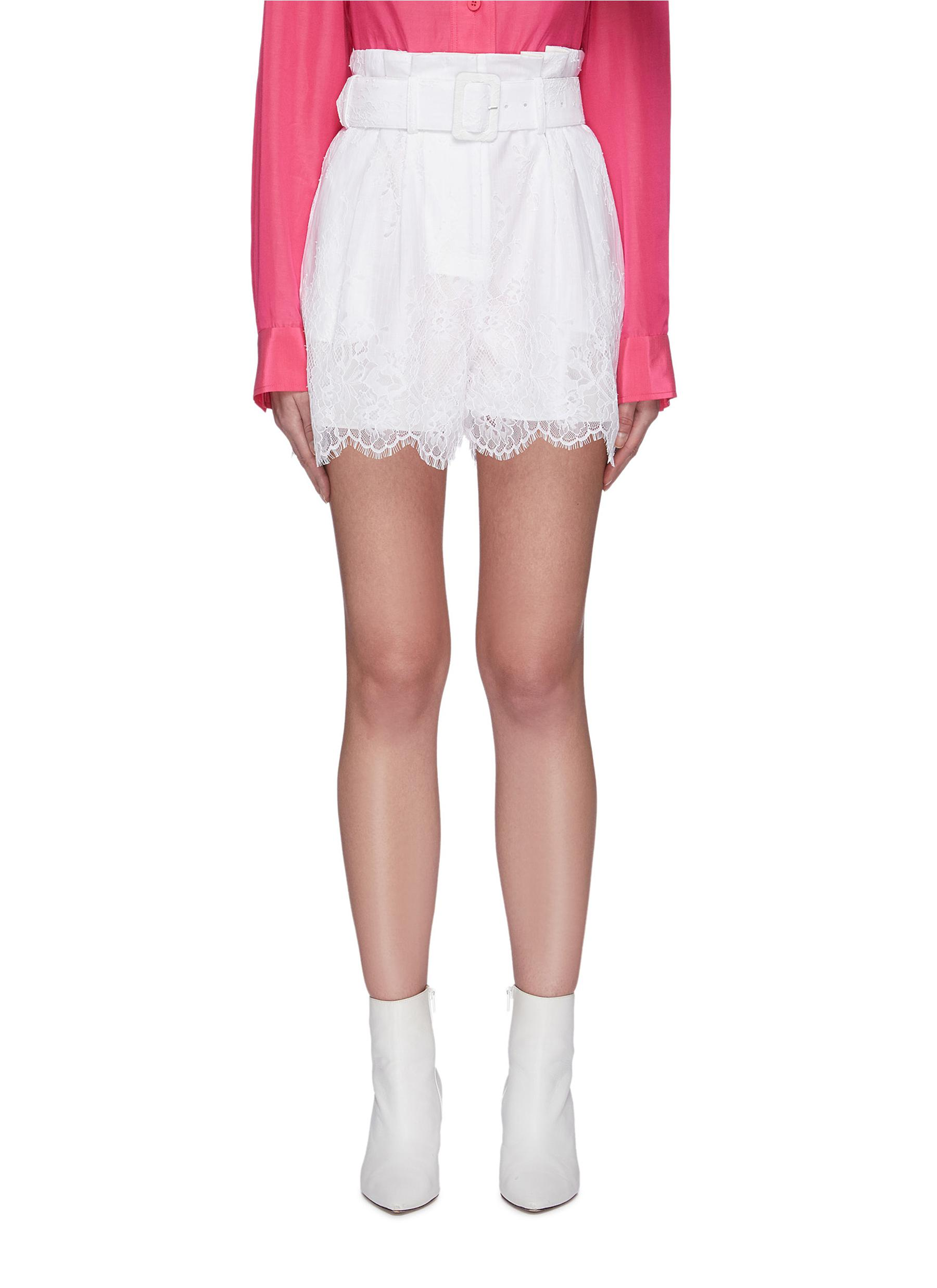Buy Self-Portrait Pants & Shorts Lace belted shorts