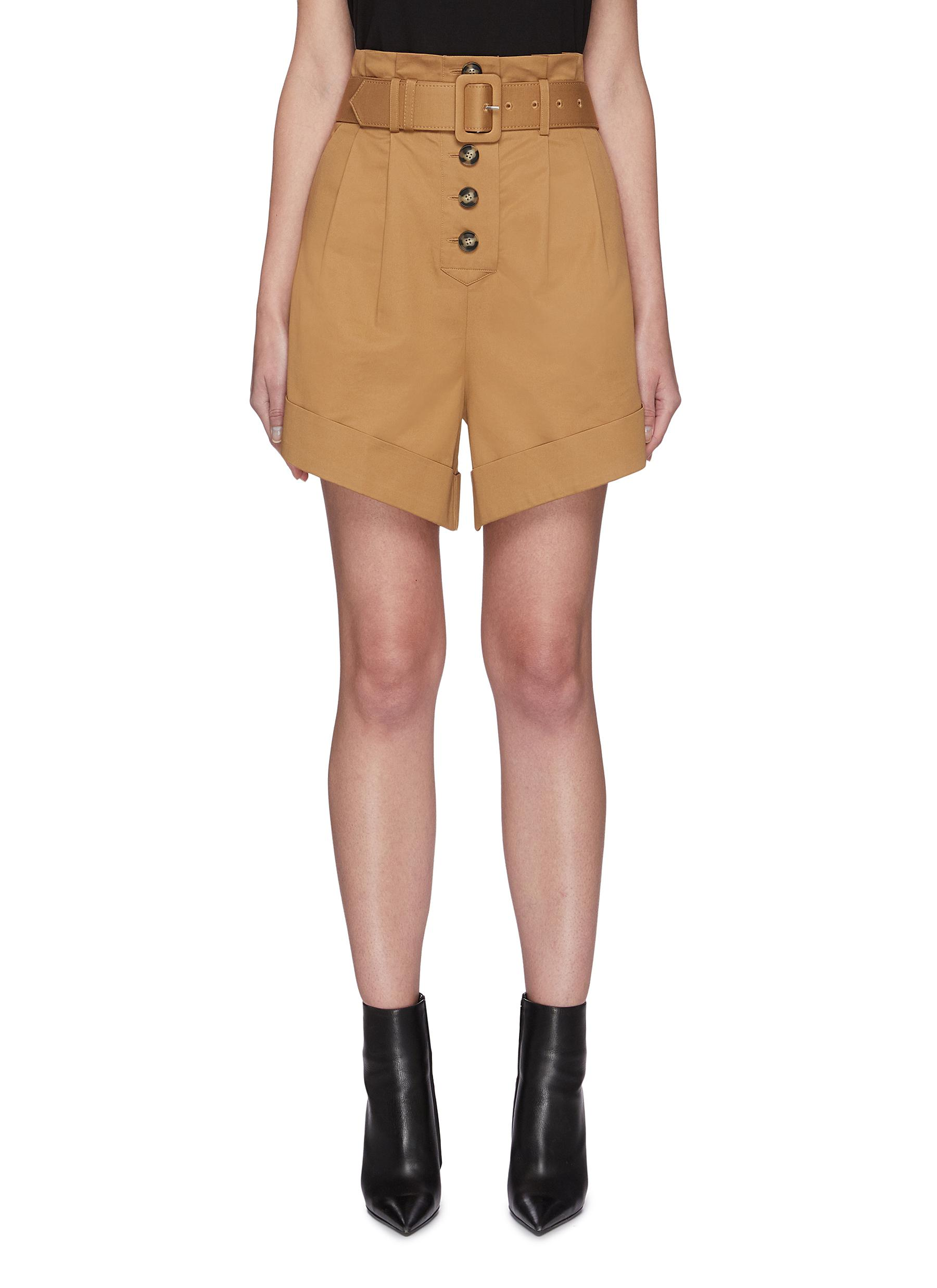 Buy Self-Portrait Pants & Shorts Belted canvas turn up shorts