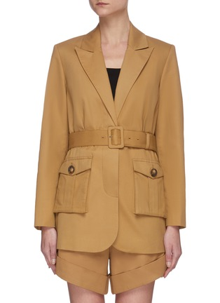 Main View - Click To Enlarge - SELF-PORTRAIT - Camel canvas belted jacket