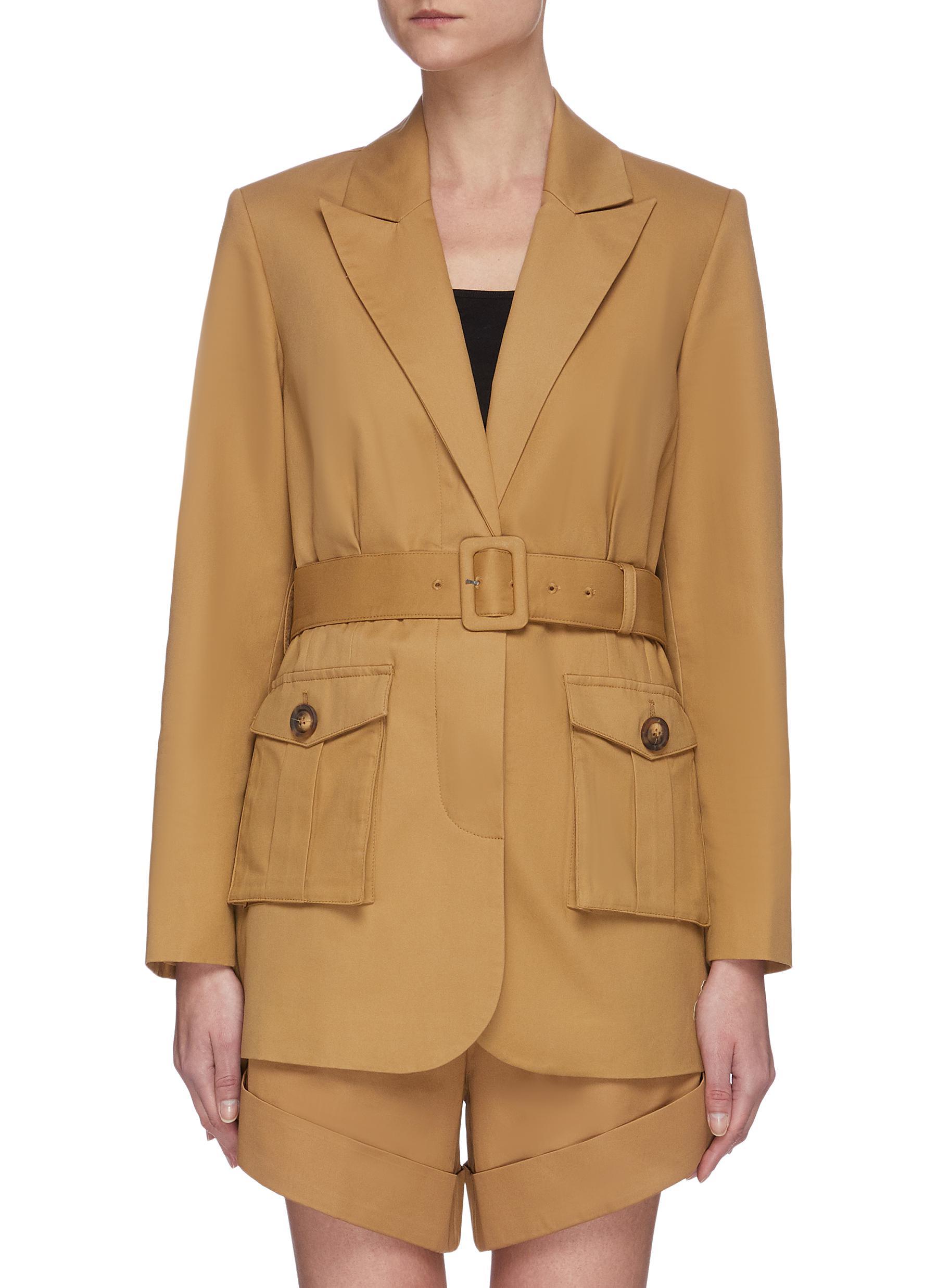 Buy Self-Portrait Blazers Camel canvas belted jacket