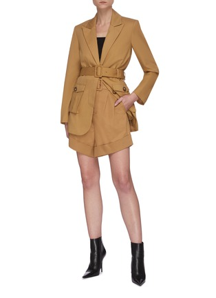 Figure View - Click To Enlarge - SELF-PORTRAIT - Camel canvas belted jacket