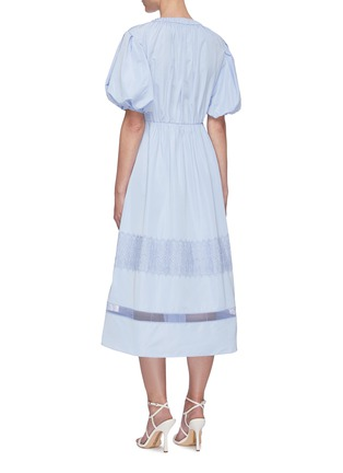 Back View - Click To Enlarge - SELF-PORTRAIT - Puff sleeve lace trim midi dress