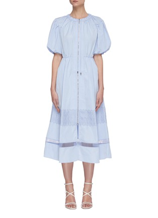 Main View - Click To Enlarge - SELF-PORTRAIT - Puff sleeve lace trim midi dress