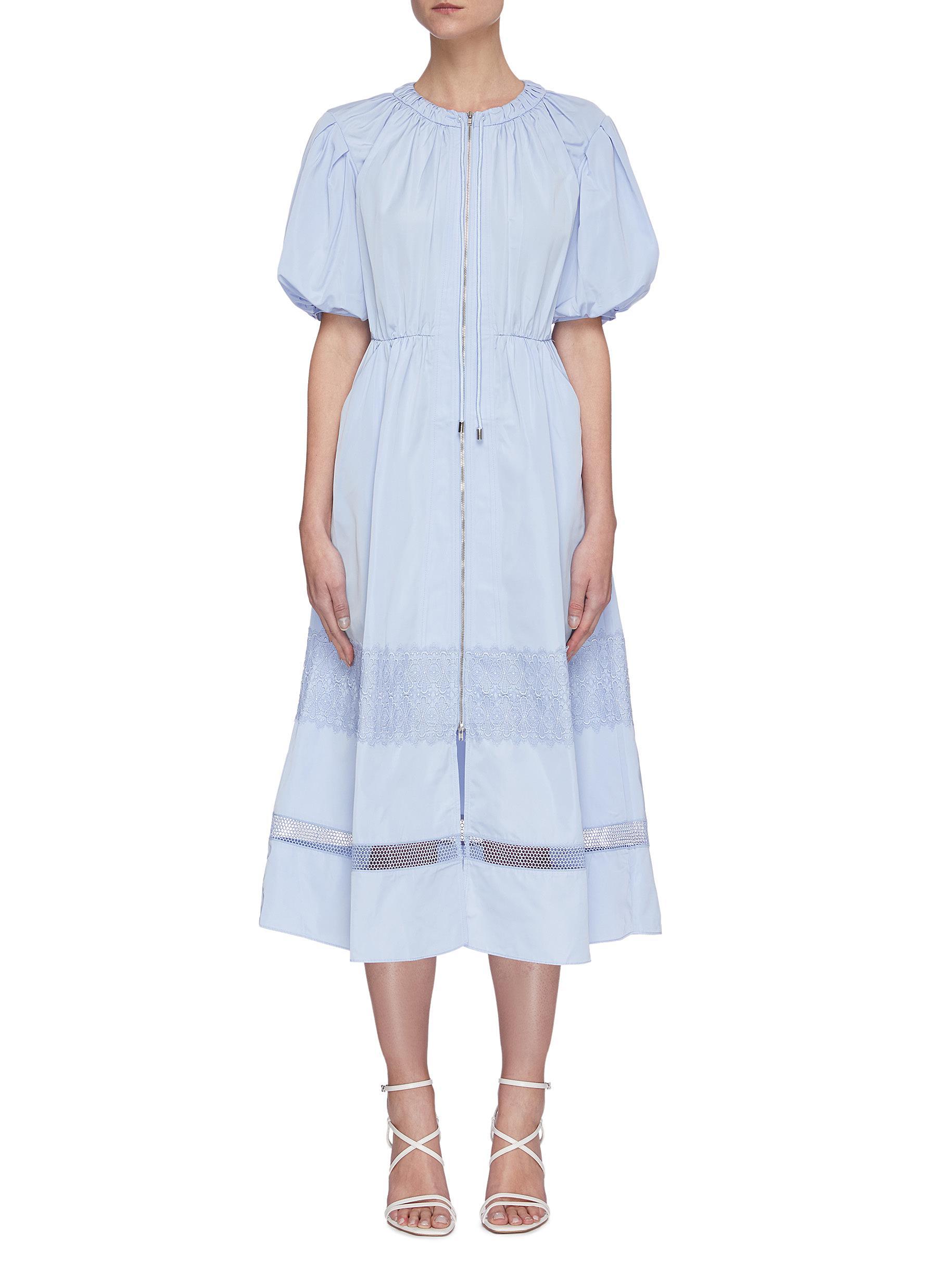 shop Self-Portrait Puff sleeve lace trim midi dress online