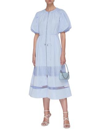 Figure View - Click To Enlarge - SELF-PORTRAIT - Puff sleeve lace trim midi dress