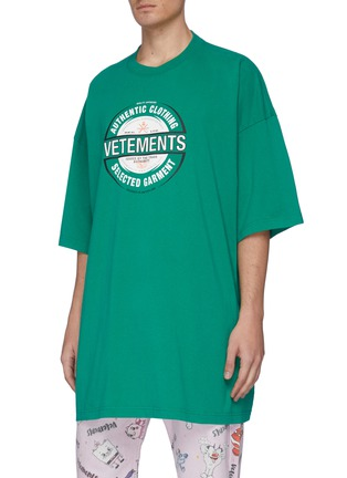 Front View - Click To Enlarge - VETEMENTS - 'Beer badge' logo print T-shirt