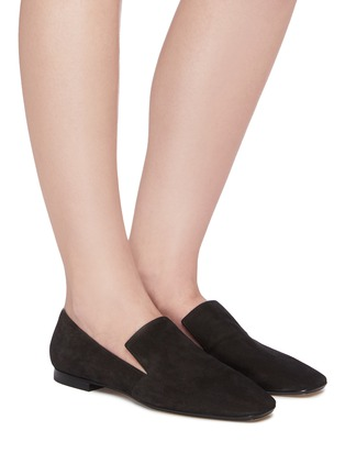 Figure View - Click To Enlarge - RODO - Square toe suede loafers