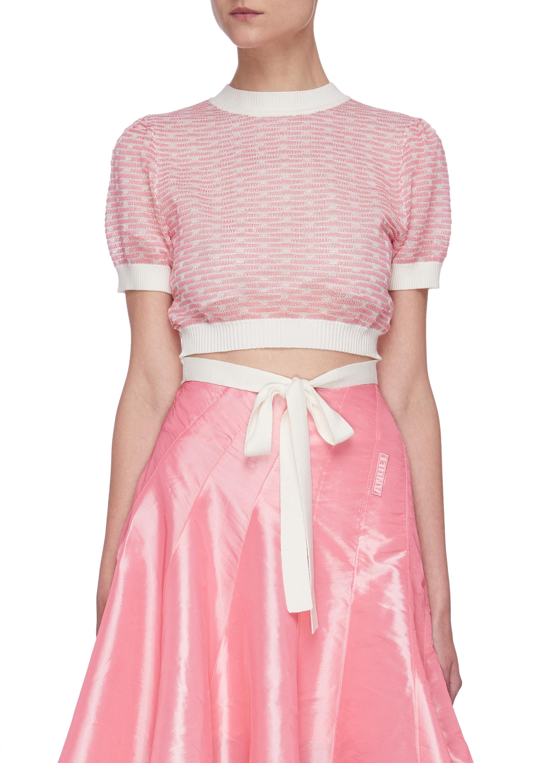 Buy Angel Chen Tops Cut-out Bow Knot Hem Crop Top