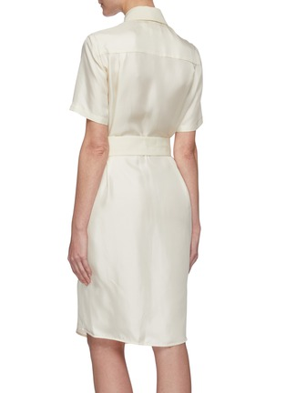 Back View - Click To Enlarge - VICTORIA, VICTORIA BECKHAM - Belted patch pockets silk twill shirt dress