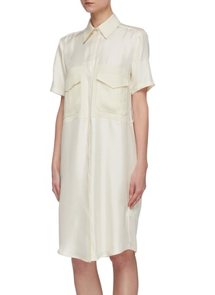 Front View - Click To Enlarge - VICTORIA, VICTORIA BECKHAM - Belted patch pockets silk twill shirt dress
