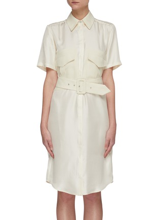 Main View - Click To Enlarge - VICTORIA, VICTORIA BECKHAM - Belted patch pockets silk twill shirt dress