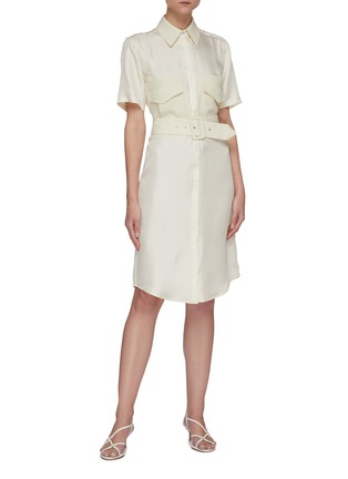 Figure View - Click To Enlarge - VICTORIA, VICTORIA BECKHAM - Belted patch pockets silk twill shirt dress