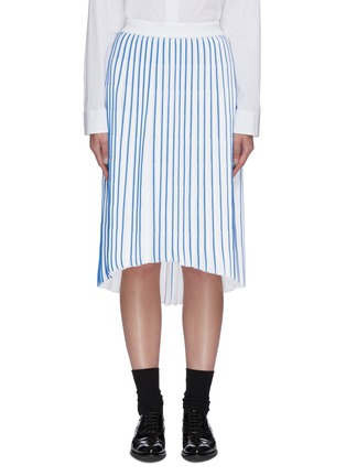 Main View - Click To Enlarge - THOM BROWNE - Accordion below the knee contrast stripe pleated midi skirt